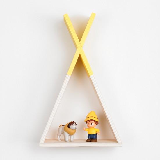 Kızılderili Çadırı Ahşap Raf Küçük Boy - Sarı