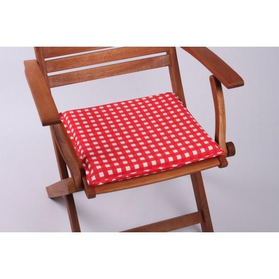 Kırmızı Ekoseli Sandalye Minderi