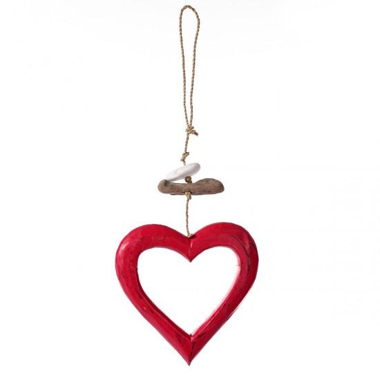 Ahşap Sarkıt Kalp Süs