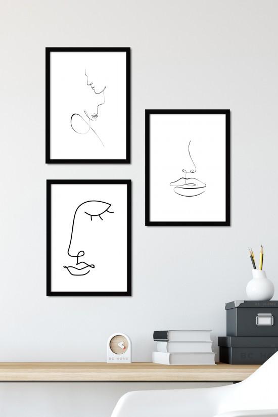 3 Parça Çerçeveli Poster Tablo Seti