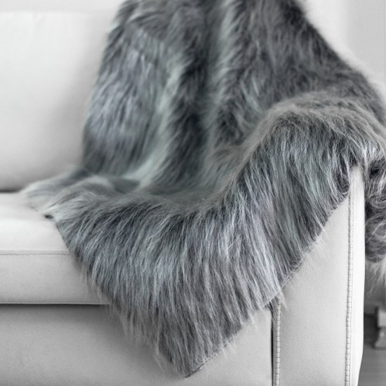 Plush Seat Shawl - Grey