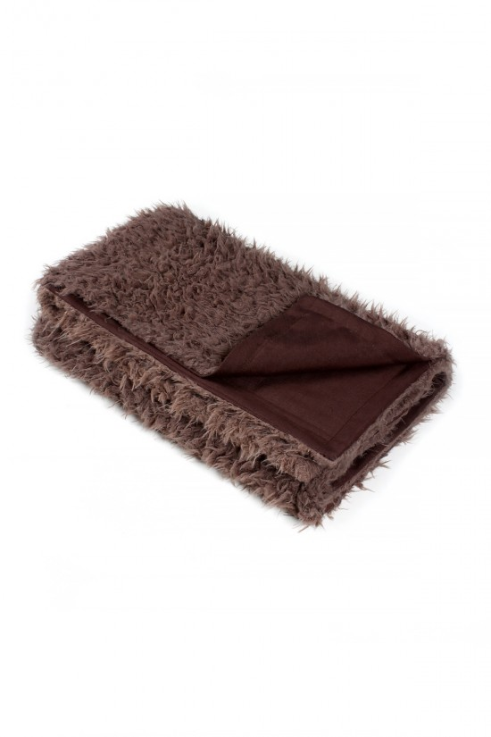 Soft Curly Feathered Seat Shawl - Brown