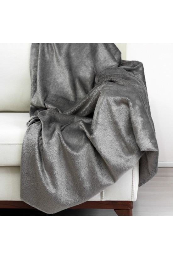 Plush Seat Shawl Short Feather - Grey