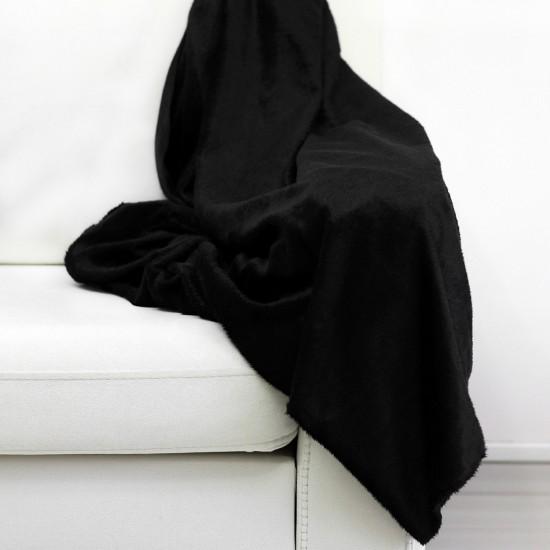 Plush Seat Shawl Short Feather - Black