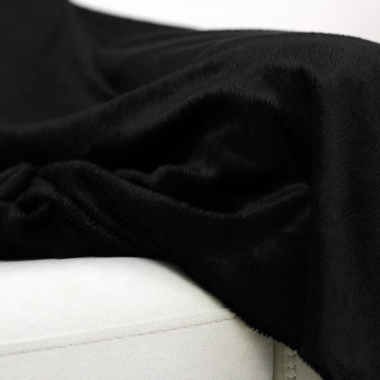 Plush Seat Shawl Short Feather - Black