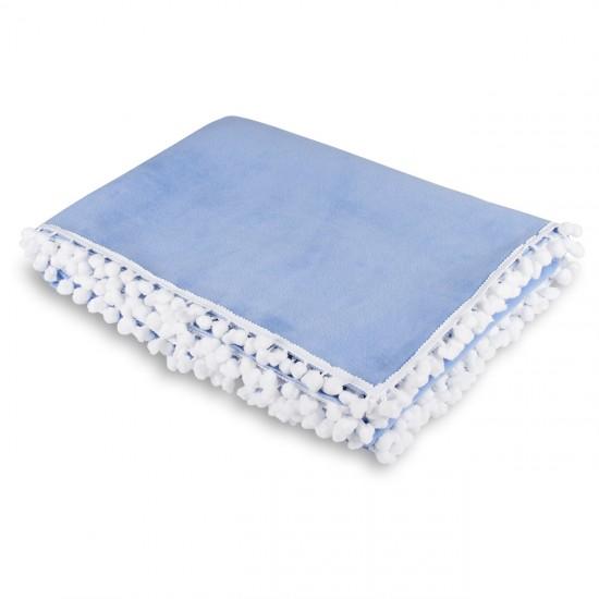 Knee Blanket With Pompon - Blue