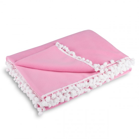 Knee Blanket With Pompon - Pink