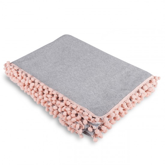 Knee Blanket With Pompon - Grey
