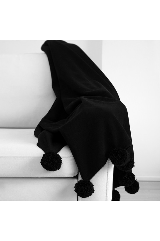 Knee Blanket With Large Pompon - Black
