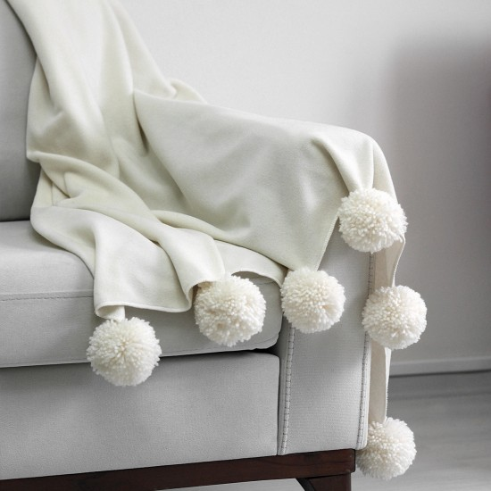 Knee Blanket With Large Pompon - Cream
