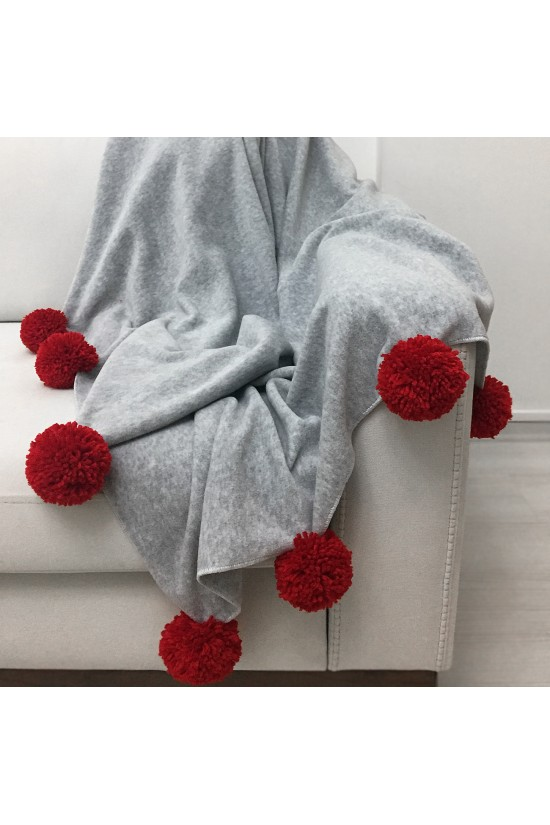 Knee Blanket With Large Pompon - Grey