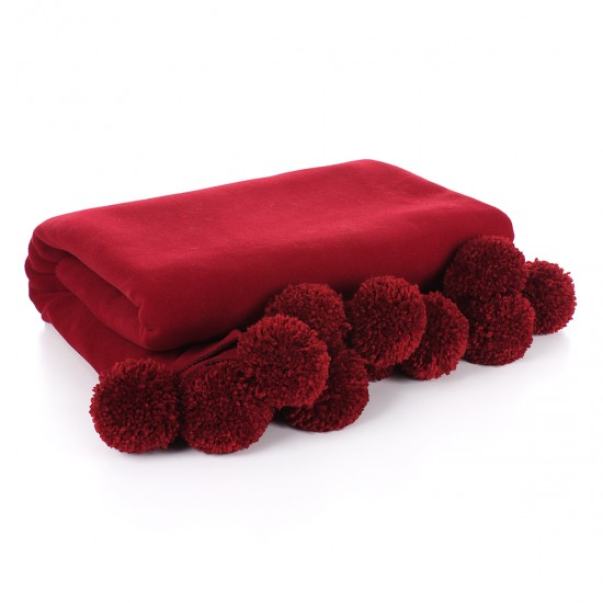 Knee Blanket With Large Pompon - Claret Red