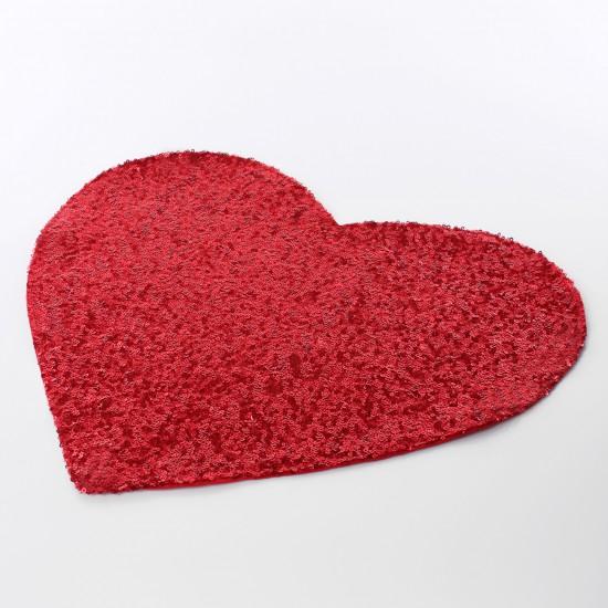 Payetli Kalp Amerikan Servis Kırmızı - 2 Adet