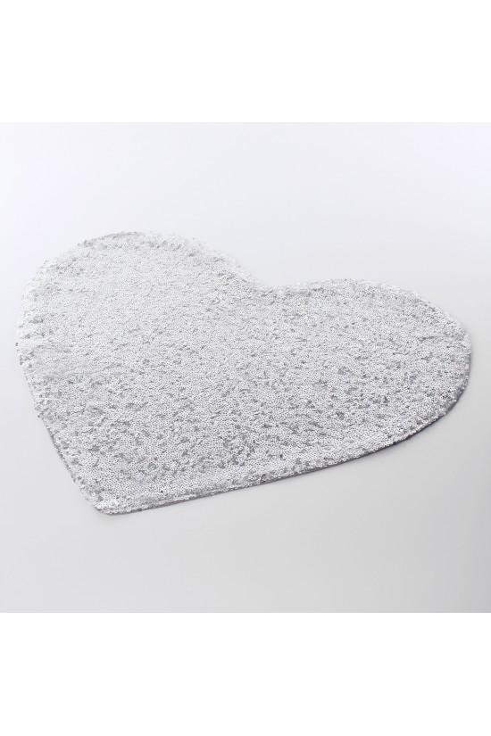 Payetli Kalp Amerikan Servis Gümüş - 2 Adet