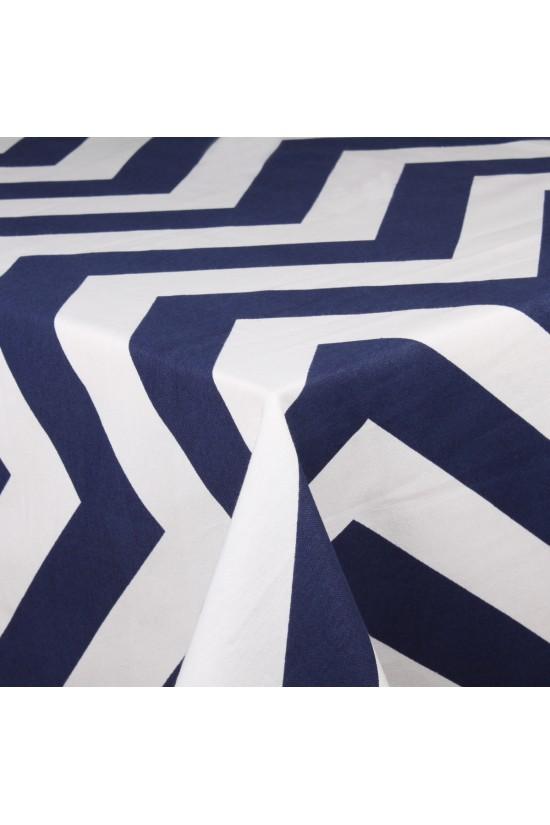 Lacivert Zigzag Çizgili Masa Örtüsü - 145x175 cm