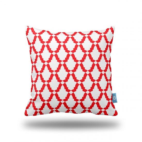 Geometrik Desenli Kırmızı Dekoratif Yastık Kılıfı
