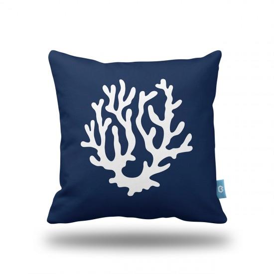 Lacivert Mercan Dekoratif Yastık Kılıfı