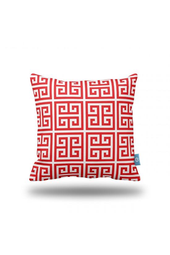 Kırmızı Geometrik Desenli Dekoratif Yastık Kılıfı