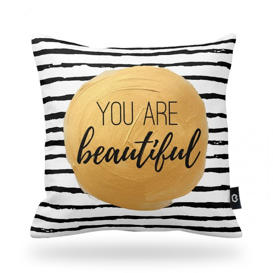 """You are beautiful"" Striped Decorative Pillow Cover"