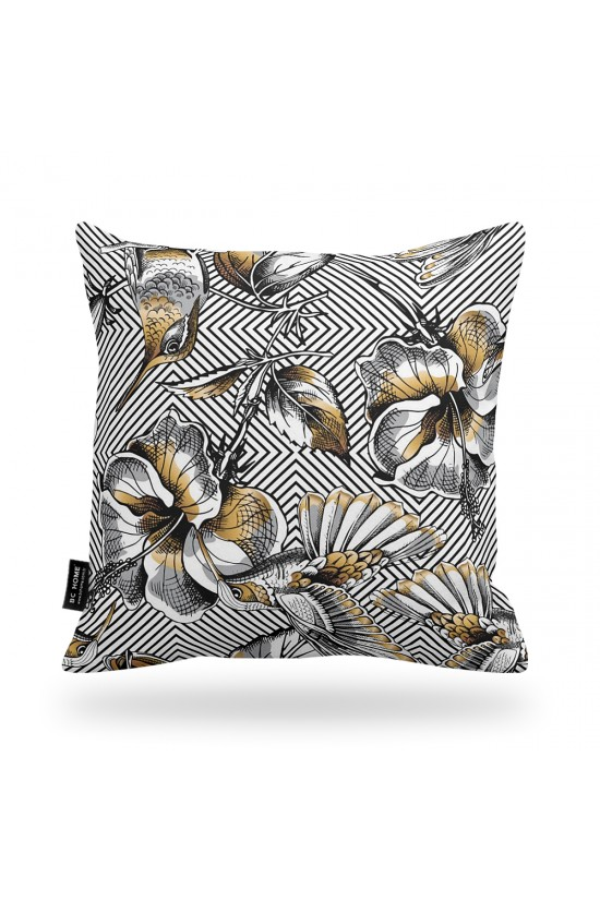 Bird and Flower Patterned Decorative Pillow Cover