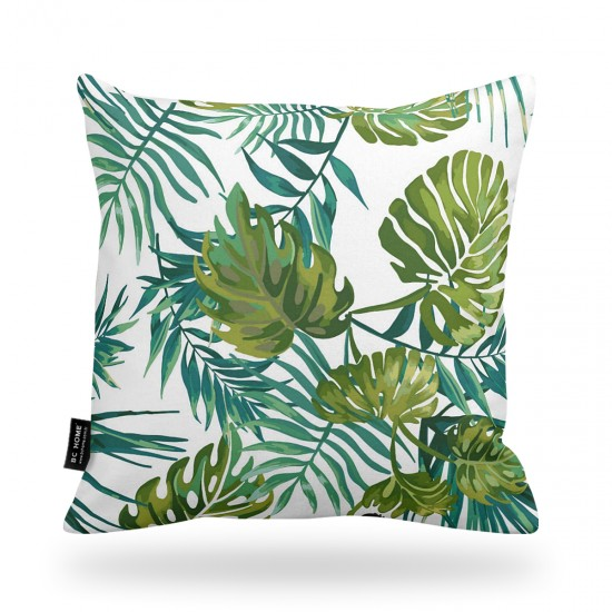 Leaf and Leopard Patterned Decorative Pillow Cover