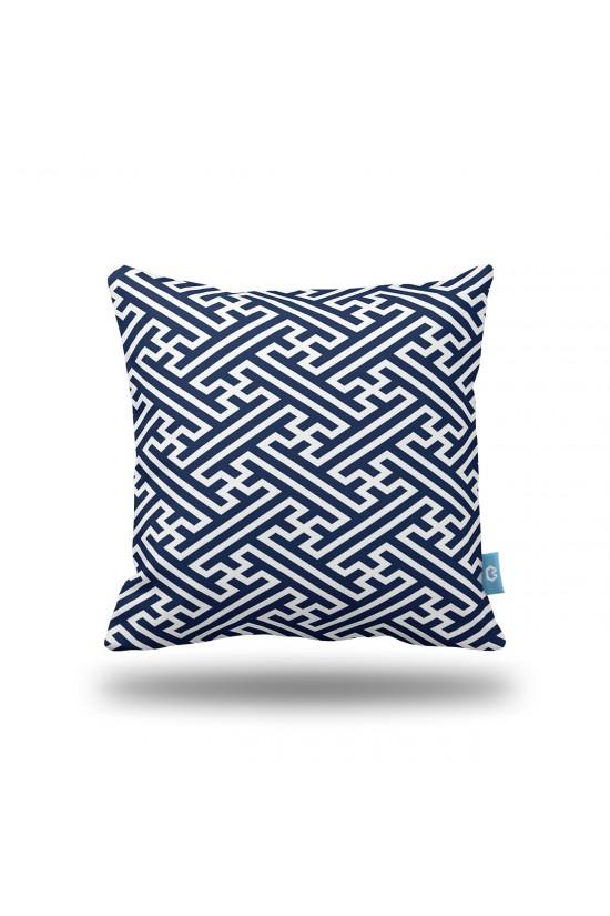Lacivert Geometrik Desenli Dekoratif Yastık Kılıfı