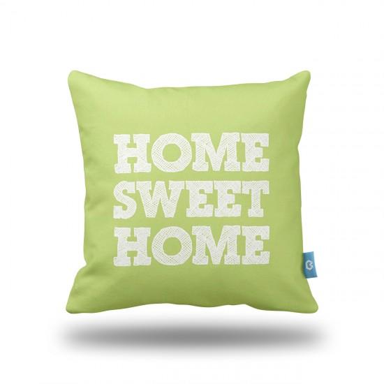 Home Sweet Home Yeşil Dekoratif Yastık Kılıfı