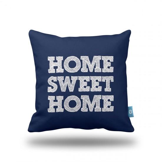 Home Sweet Home Lacivert Dekoratif Yastık Kılıfı