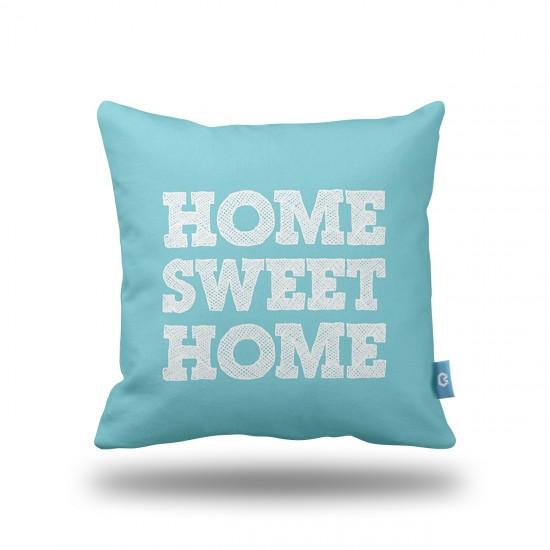 Home Sweet Home Turkuaz Dekoratif Yastık Kılıfı