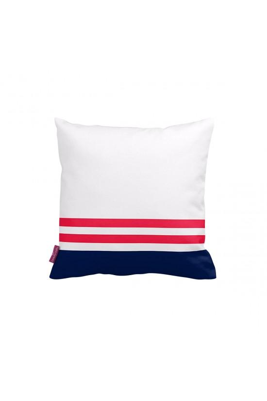 Beyaz-Lacivert Çapa Dekoratif Yastık Kılıfı