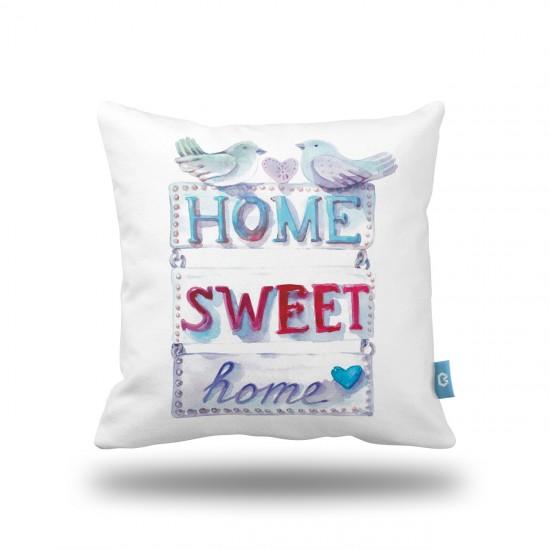 Home Sweet Home Kuşlar Dekoratif Yastık Kılıfı