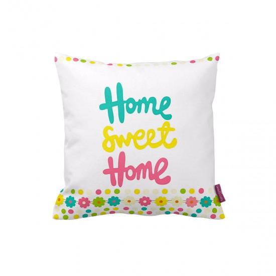 Renkli Home Sweet Home Dekoratif Yastık Kılıfı