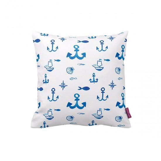 Beyaz-Mavi Marine Dekoratif Yastık Kılıfı