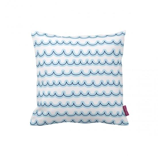 Beyaz-Mavi Dalgalı Dekoratif Yastık Kılıfı