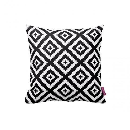 Siyah-Beyaz Piksel Desen Dekoratif Yastık Kılıfı