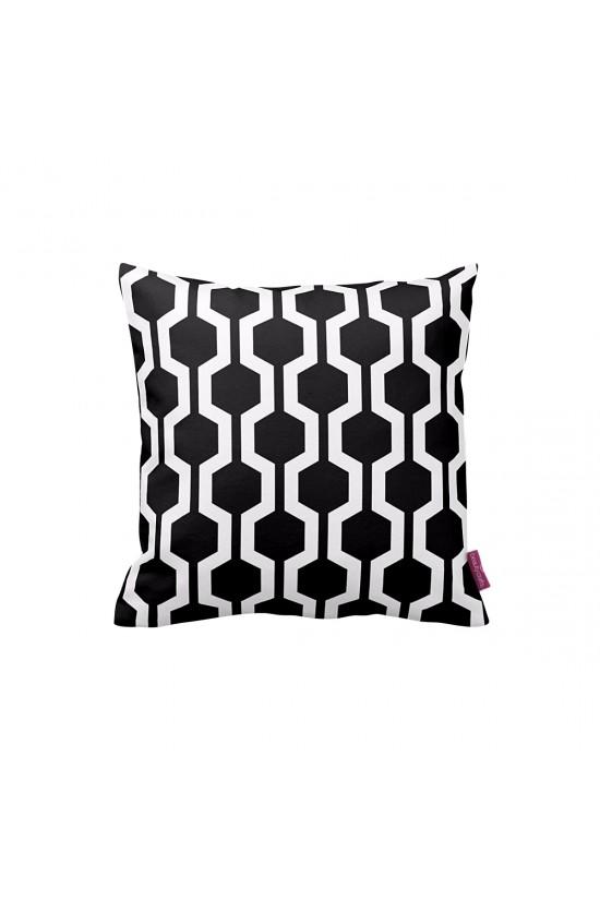 Siyah-Beyaz Petek Geometrik Dekoratif Yastık Kılıfı