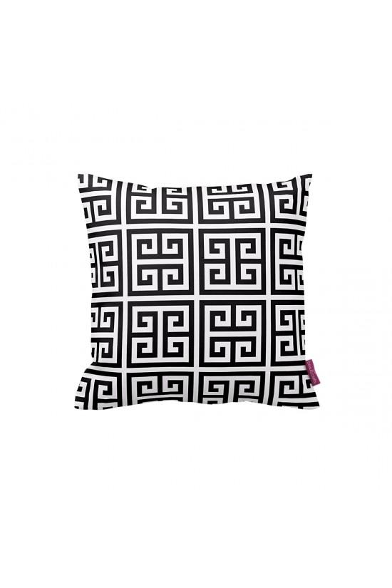 Siyah-Beyaz Greek Geometrik Dekoratif Yastık Kılıfı