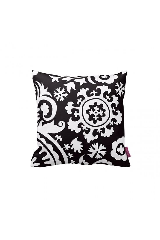Siyah-Beyaz Suzani Dekoratif Yastık Kılıfı