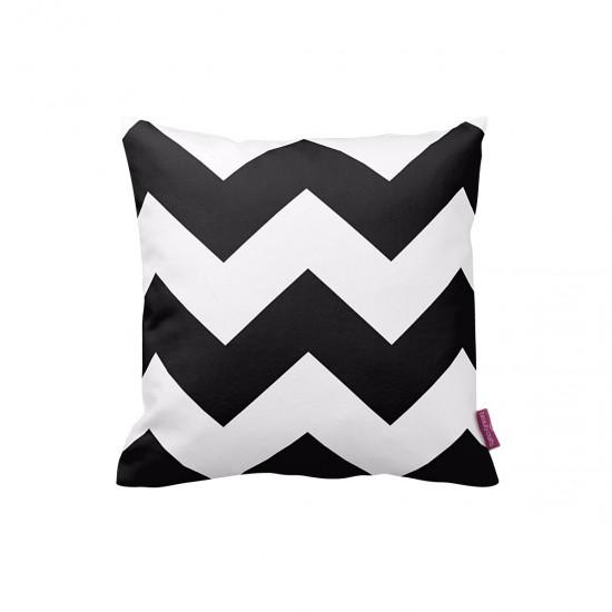 Siyah-Beyaz Büyük Zigzag Dekoratif Yastık Kılıfı
