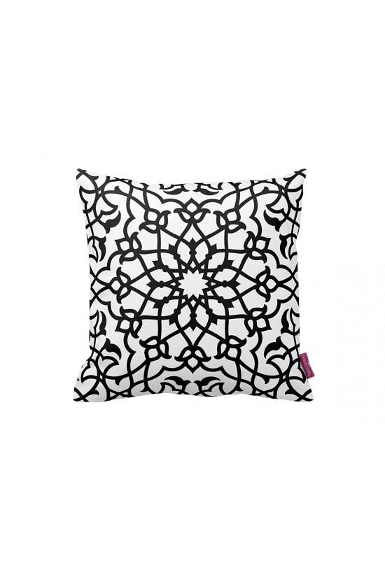 Beyaz-Siyah Oryantal Dekoratif Yastık Kılıfı