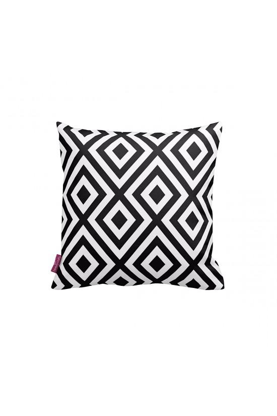 Beyaz-Siyah Elmas Desen Dekoratif Yastık Kılıfı