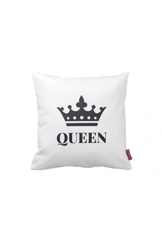 Queen Beyaz Dekoratif Yastık Kılıfı