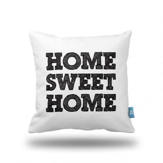 Home Sweet Home Beyaz/Siyah Dekoratif Yastık Kılıfı