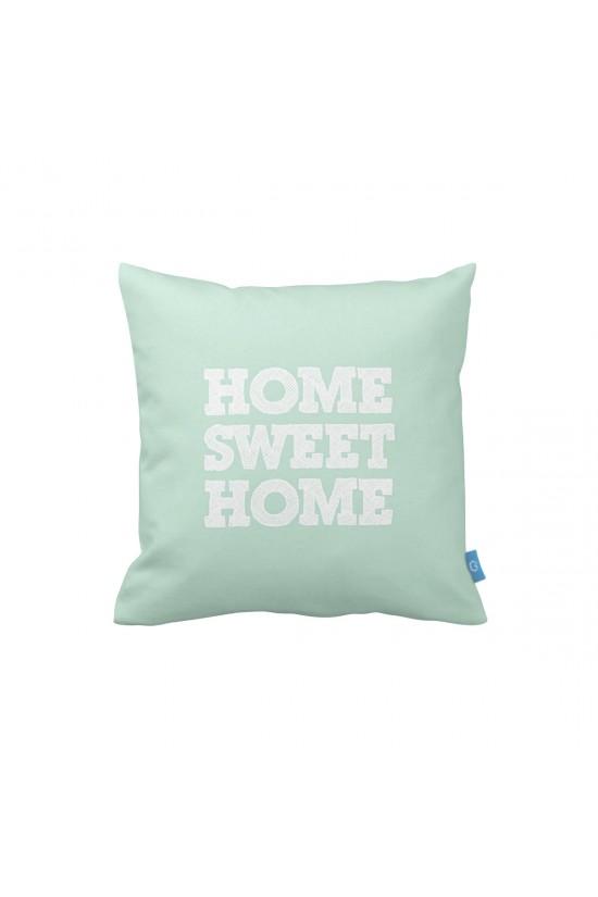Home Sweet Home Mint Dekoratif Yastık Kılıfı