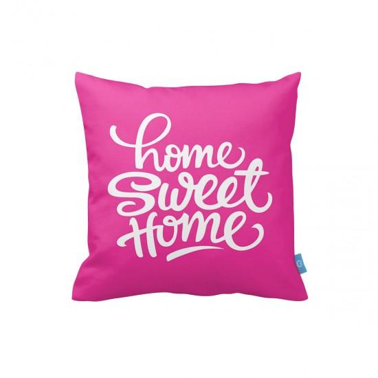 Home Sweet Home Fuşya Dekoratif Yastık Kılıfı