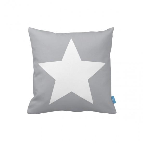 Yıldız Desenli Gri Dekoratif Yastık Kılıfı