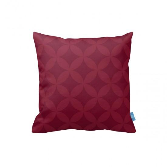 Bordo Geometrik Desen Dekoratif Yastık Kılıfı
