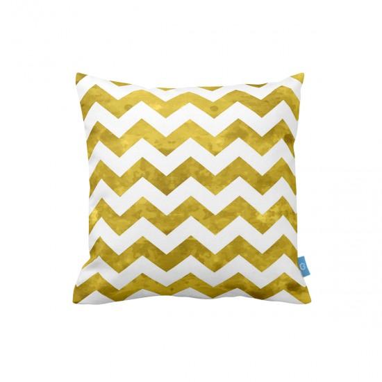 Altın Zigzag Desen Dekoratif Yastık Kılıfı