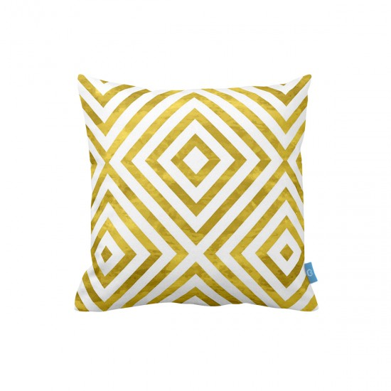 Altın Geometrik Desenli Dekoratif Yastık Kılıfı