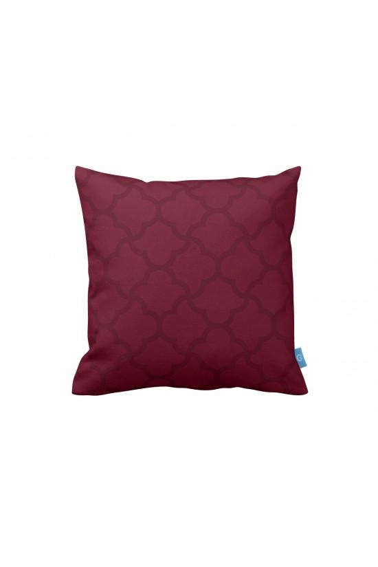 Bordo Geometrik Dekoratif Yastık Kılıfı